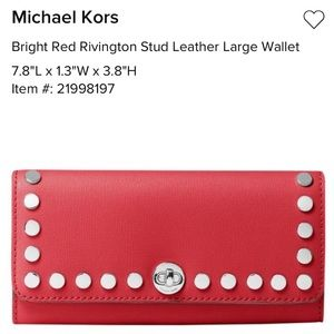 NWT Michael Kors red Rivington Stud leather wallet